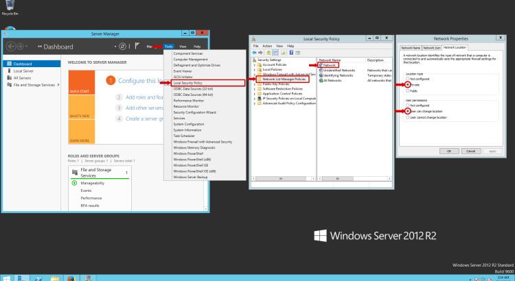 Change Network Location Windows 2012 Server R2